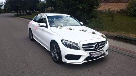 AUTO DO ŚLUBU biały Mercedes C klasa w pakiecie AMG - Warszawa - mazowieckie